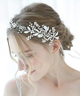 FXmimior - Cerchietto per capelli da sposa, con strass e strass, accessorio per capelli (argento)
