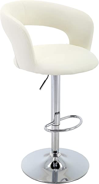 Brage Living Adjustable Height Barstool PU Leather Bar Stool With Footrest 象牙色