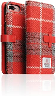 [SLG DESIGN] D5 Special Edition X Harris Tweed for iPhone 8+ / 7+, 100% Tweed Wool Fabric Flip Folio Book Case Wallet Cover with Feature Card Slots Compatible with iPhone 8 Plus / 7 Plus (Gray/Red)
