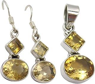 مجموعة مجوهرات من سيلفر ستار جويل من الحجر الأصفر للعروس 925 من الفضة الخالصة بقطع من السترين