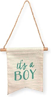 Tag Its a Boy Baby Canvas Banner Blue Lettering Nursery Wall Hanging Baby Shower Supplies Decorations Favors For Boys