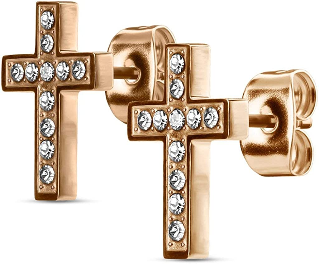 Pair of Surgical Steel CZ Paved Cross Stud Earrings for Women