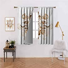 Fleur De Lis Thermal Curtains Ancient Antique Heraldry Symbol Vintage Floral Swirls Traditional Old Fashion for Living, Dining, Bedroom (Pair) 63