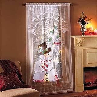 Christmas LED Lights Lace Curtain,Santa Snowman Christmas Tree Glowing Lace Curtain for Livingroom,Kitchen,Bedroom (B)