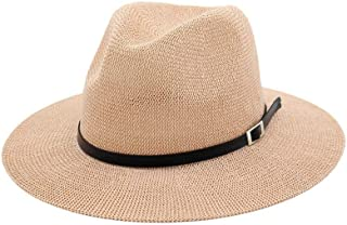 PengCheng Pang Summer Straw Hat Women Sun Hat Fedora Hat Elegant Lady Classic Jazz Hat Shade Big Hat Outdoor Travel Beach Hat (Color : Pink, Size : 56-58)