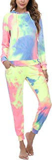 Aibrou Women's Casual Tie Dye Sweatsuit 2 Piece Long Sleeve Hooded Pullover Sweatshirt Drawsting Pants with Pockets Set