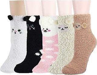 Z-Chen, Pack de 5 Pares Calcetines para Dormir Térmicos Calentitos Invierno - Niños Niñas, Talla Única 3-8 Años