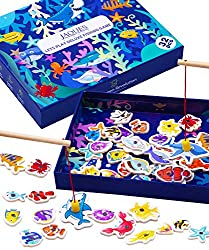 Magnetic Fishing Game for Kids   Comes beautifully presented in a sea life themed box. This large wooden fishing game set is the perfect gift and addition to your toy box! Our toddler fishing game comes with two large magnetic fishing rods for collab...