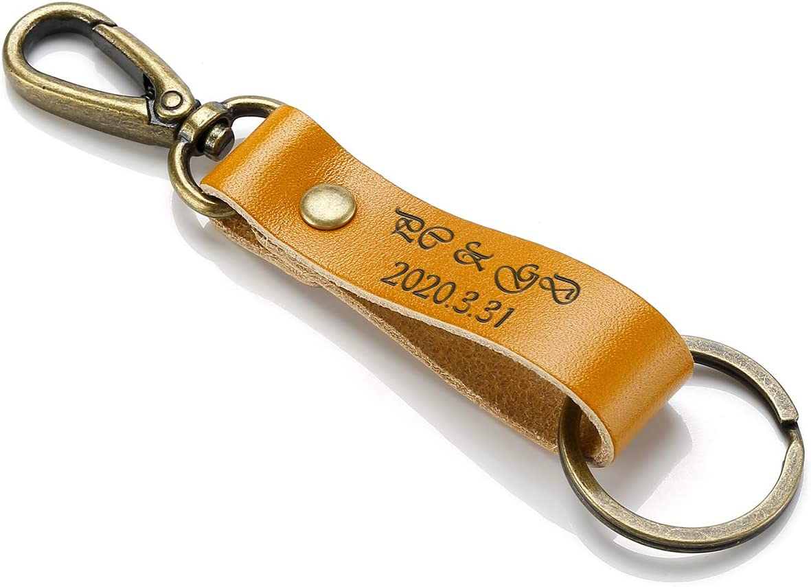 JOVIVI Personalized Custom Mens Simple Retro Brown Leather Keychain Key Chain Holder with Metal Bronze Key Ring