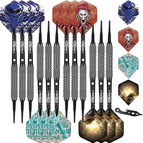 CyeeLife Soft tip Darts Home Set+100Tips+Tool+24Flights+12 Aluminium shafts with Rubber Rings,Light House Plastic Dart