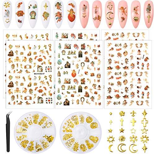 6 Blätter Engel Muster Nagel Aufkleber und 2 Boxen 3D Nagelkunst Metall Charm, Baby Engel Aufkleber Selbstklebende Nagel Abziehbilder, Gold Metall Nagel Nieten Punk Stern Kreuz Mond Juwel