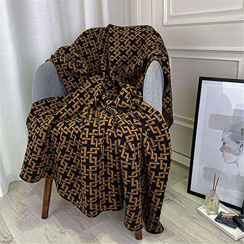 TENGTUD Manta de Punto, Manta de Cadena marrón para Cubrir la Manta / Manta de Aire Acondicionado / Manta de sofá / Manta de cama-100x150cm