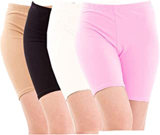 Pixie Biowashed Cycling Shorts for Girls/Women/Ladies Combo (Pack of 4) Beige, Black, White, BabyPink - Free Size