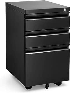 Black 3 Drawer Filing Cabinet with Lock 26 Inch Metal File Cabinet Locking Office Filing Cabinets Under Desk for Legal Letter on Anti-tilt Wheels Black A