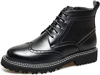 XueQing Pan Ankle Boots for Men Brogue Carving Oxford Lace up Pointed Toe Microfiber Leather Stitching Anti-Slip Solid Color Lug Sole (Color : Black, Size : 6 UK)