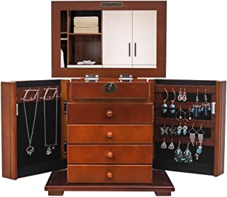 Kcelarec Wooden Jewelry Chest Jewelry Box Organizer with 4 Drawers (Brown)