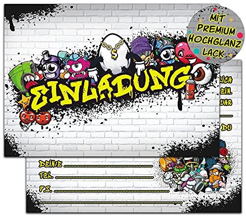 Graffiti Monster Einladungskarten Geburtstag | 12 Hochglanz Geburtstagseinladungen | Kindergeburtstag Einladungskarten für Jungen & Mädchen | DIN A6