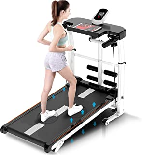 Iuhan Treadmill, 4 in q Folding Treadmill Shock Running Machine, Supine, T-wisting, Draw Rope 4-in-1 Mechanical Treadmill