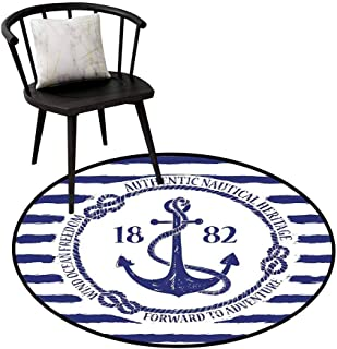 Super Soft Anti-Skid Round Area Rug Anchor,Old Authentic Nautical Emblem with Anchor on a Striped Background Freedom Heritage,White Blue,Office Soft Carpet Floor Mat 20
