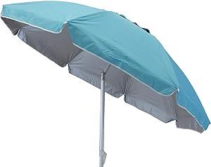 Milo srl OMBRELLONE Fibra di Vetro Ombrello da Mare Spiaggia Piscina Alluminio ORIENTABILE 200 MM (Azzurro)