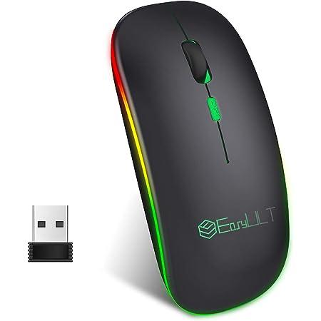 EasyULT Mouse Bluetooth Ricaricabile, Mouse Silenzioso a Due modalità (BT 5.1+2.4G Wireless), Mouse da Viaggio Portatile Senza Fili Ottico, 3 Livelli DPI(800/1200/1600), 4 Pulsanti-Nero