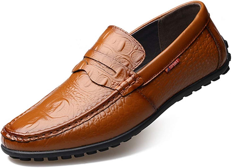 ZHRUI Men Formal shoes Basic Dress shoes Genuine Leather Fashion Men Flats (color   Light brown, Size   8=42 EU)