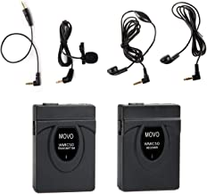 Movo WMIC50 2.4GHz Wireless Lavalier Microphone System with Integrated 164-foot Range Antenna (Includes Transmitter with Belt Clip Receiver with Camera Shoe Lavalier and 2 Earphones)