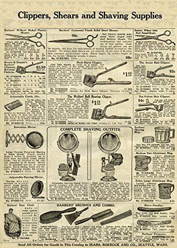 Vintage fryzjer i salon Clippers, Nożyce i akcesoria do golenia, Sears Strona katalogu z 1907, Reprodukcja Plakatu w styluvintage o gramaturze 200g/m2 w rozmiarze A3