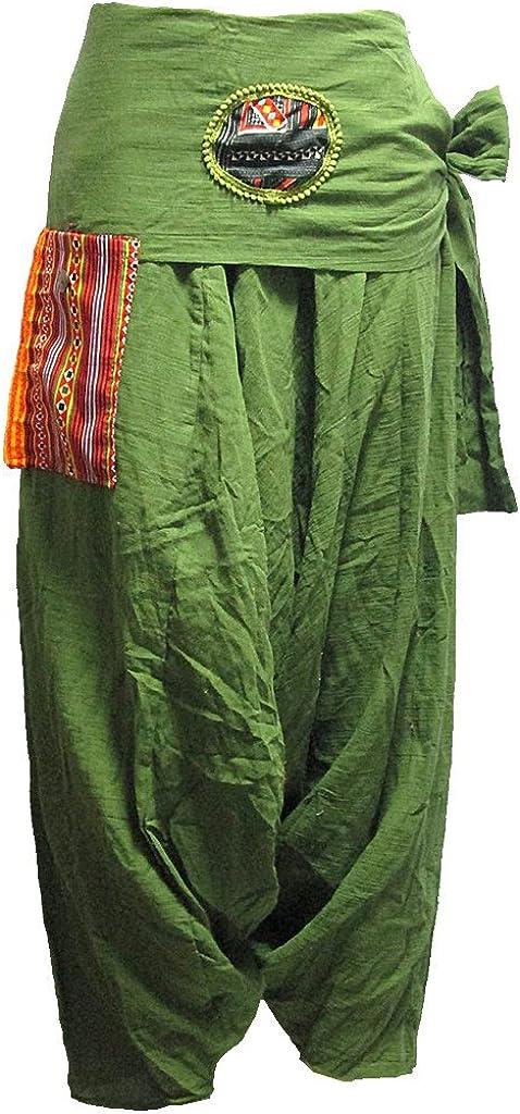 Elegant New product type Women's Pocket-Side Drop-Crotch Pants Tie-Waist