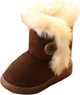 Gaorui Boys' Plus Size Winer Snow Boots Fleece Faux Fur Thicken Shoes