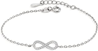 925 Sterling Silver Infinity Bracelet for Women Adjustable Charm Link Bracelet Symbol Gift Chain Jewelry
