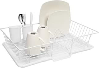 Sweet Home Collection 3 Piece Dish Drainer Rack Set with Drying Board and Utensil Holder, 12