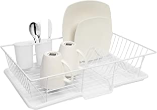 """Sweet Home Collection 3 Piece Dish Drainer Rack Set with Drying Board and Utensil Holder, 12"""" x 19"""" x 5"""", White"""