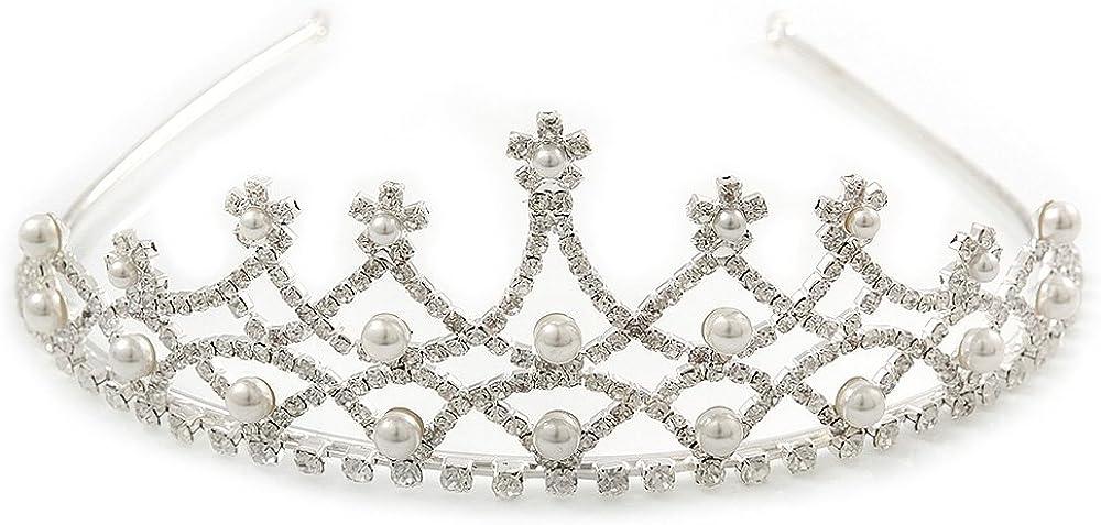 Bridal/ Wedding/ Prom Rhodium Plated Faux Pearl, Austrian Crystal Royal Style Tiara