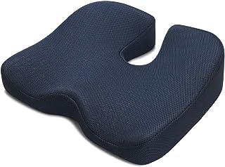 IKSTAR クッション 座布団 低反発 椅子 クッション オフィス 車用 RoHS安全基準クリア 座り心地抜群 通気性 洗える ネイビー