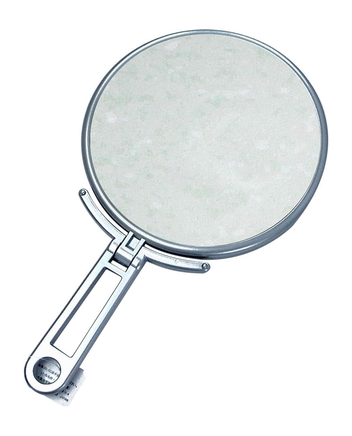 毒クレア信者メリー 片面約5倍拡大鏡付折立ミラー シルバー CH-9740
