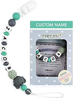 Personalized Pacifier Clip with Name, TYRY.HU BPA Free Silicone Pacifier Clip with Teething Beads for Baby Infant, Universally Fit All Pacifier Styles(Elephant, Grey)