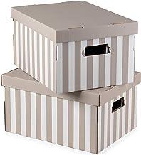 Kompaktowy zestaw 2 pudełek do przechowywania z tektury falistej, z uchwytami, można układać w stos, ciemnobrązowy, 40 x 3...
