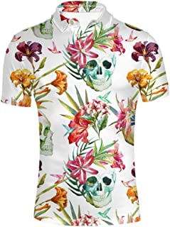 HUGS IDEA Retro Men`s Polos Shirt Skull Short Sleevee T-Shirts