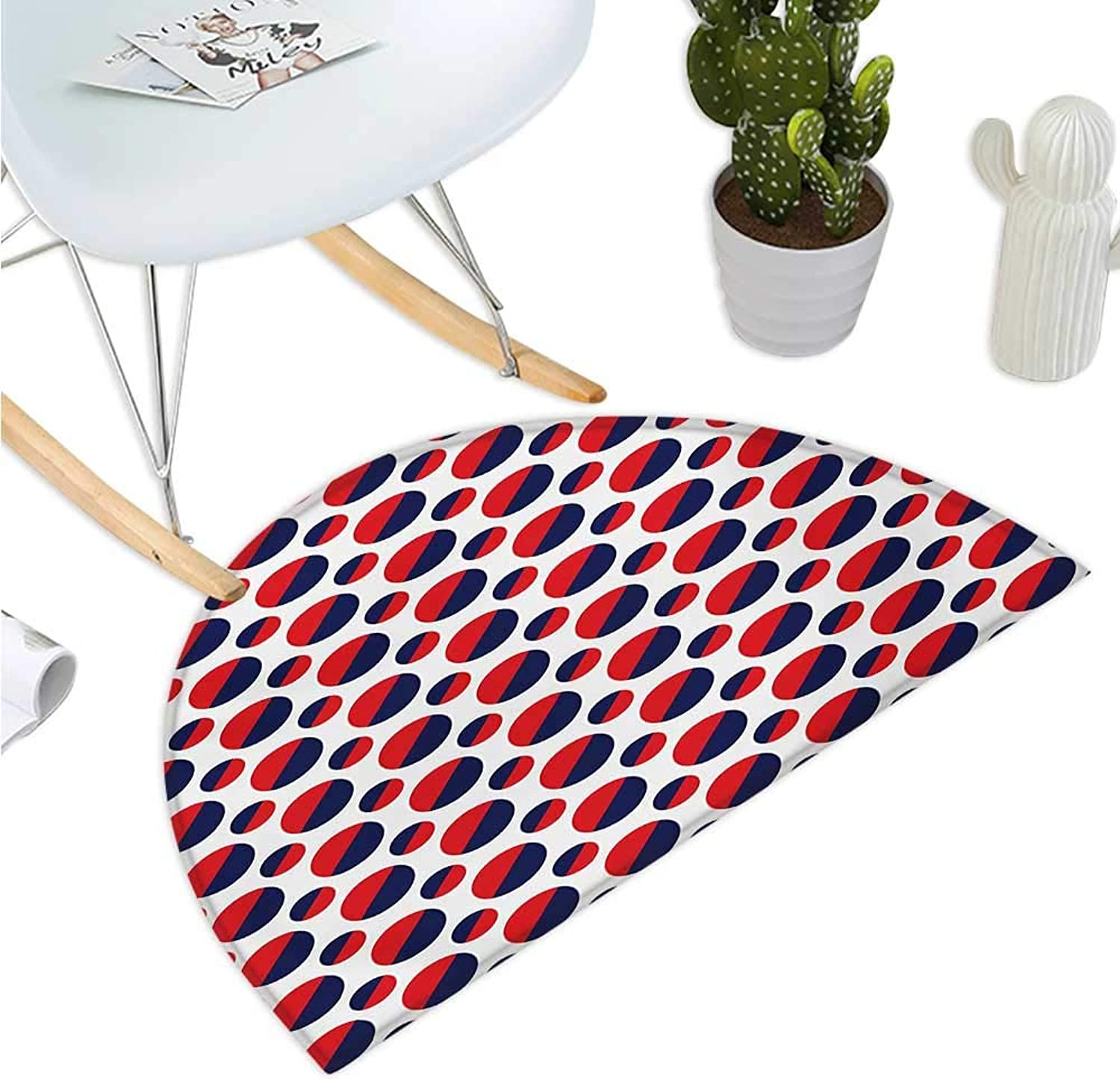 Geometric Semicircle Doormat Abstract colorful Figures with Half Circles Rounds Artwork Image Entry Door Mat H 35.4  xD 53.1  Navy bluee Red and White
