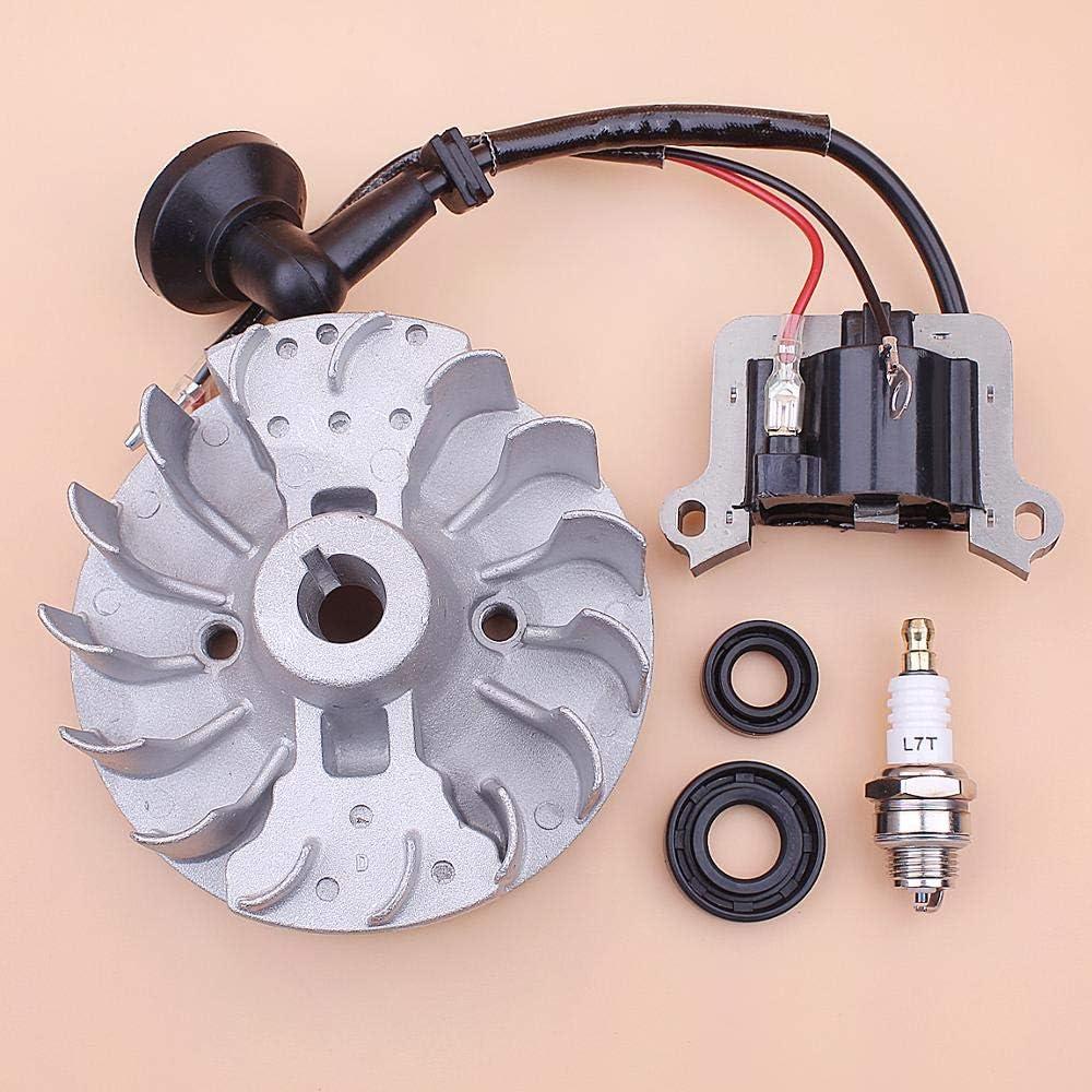 FICI Accesorios para máquina de Corte, Bobina de Encendido del Volante para 40-5 43cc 52cc, bujía, Sello de Aceite, cortadora de césped, Cortador de Cepillo, Motor