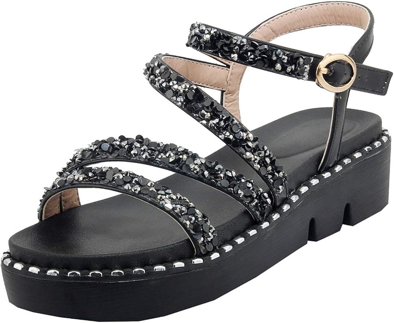 Artfaerie Womens Glitter Crystal Rhinestone Flatform Strappy Sandals Open Toe Summer shoes