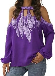 GAGA Women's Casual Off Shoulder Pattern Print Long Sleeve Pullover Chiffon Shirts