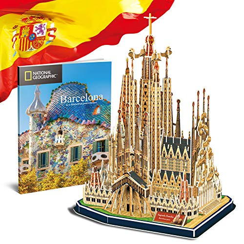 CubicFun National Geographic 3D Puzzles Barcelona City Model Toys Architecture Kits for Adults and Kids,with City Traveller Booklet for Sagrada Família