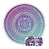 Feelingjoy Round Beach Towel Blanket Roundie Large Floral Mandala Lotus Purple Blue 60 Inch Thick Water Absorbent Microfiber Picnic Yoga Mat with Fringe Edge