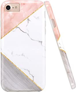 JAHOLAN Pink Geometric White Marble Design Clear Bumper Glossy TPU Soft Rubber Silicone Cover Phone Case Compatible with iPhone 7 iPhone 8 iPhone 6 6S