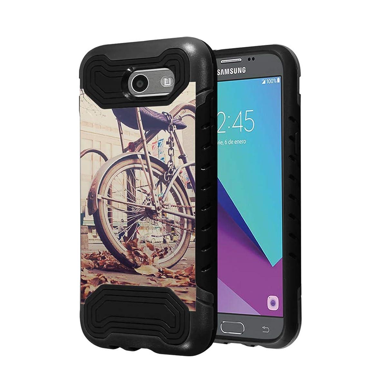 Capsule Case Compatible with Samsung Galaxy J7 Prime, J7 Perx, J7 Sky Pro, J7 V, Galaxy Halo [Quantum Dual Layer Slim Case Black] for Galaxy J7 SM-J727 Year 2017 - (Vintage Bicycles)