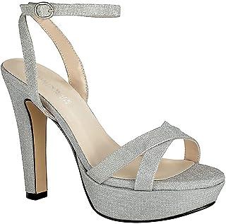 حذاء نسائي من تاتش أب بشريط كاحل وكعب سميك باللون الفضي، مقاس 5. 5