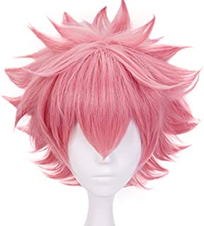 Anogol Hair Cap+Cosplay Wig Girls' Short Pink Wigs For Women Synthetic Hair Fancy Dress