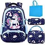 Girls Backpack Unicorn School Bag Set for Kids School Bookbag with Insulated Lunch Tote Pencil Bag 3 in 1 Sets